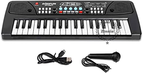 Zinnia Kids Piano Keyboard, Piano For Kids With Microphone Portable Electronic Keyboards For Beginners 37 Keys Musical Toys Pianos For Girls Boys Ages 3-8 (Big Fun 37 Key Keyboard Piano,Black)