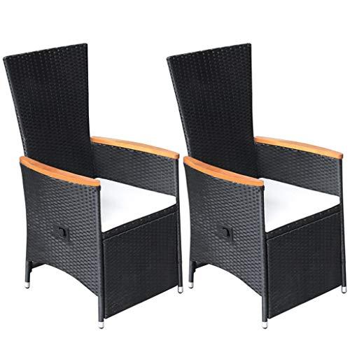 Festnight Garten-Liegestühle 2 STK. mit Auflagen Poly Rattan Schwarz Gartenmöbel Liegesessel Gartenstuhl Gartensessel