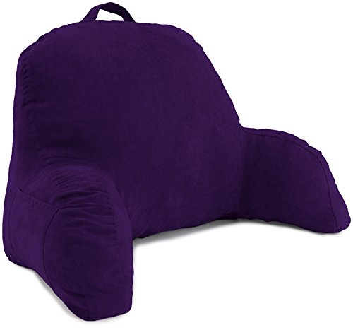 Deluxe Comfort Microsuede Bed Rest - Backrest Pillow with Arms - Bed Rest Pillow - Reading Bedrest Lounger - Sitting Support Pillow - Soft But Firmly-Stuffed Fiberfill - Reading Pillow, Purple