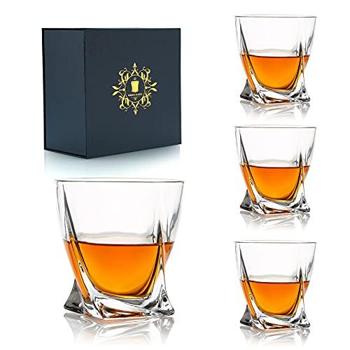Juego de 4 vasos de whisky, vasos de whisky irlandés de coñac de whisky escocés borbón de lujo de 300 ml / 10 oz, vasos giratorios, caja de regalo de cristalería para beber para hombres, papá, esposo