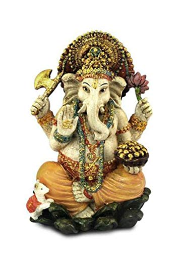 CAPRILO. Figura Hindú Decorativa Resina Ganesha Multicolor