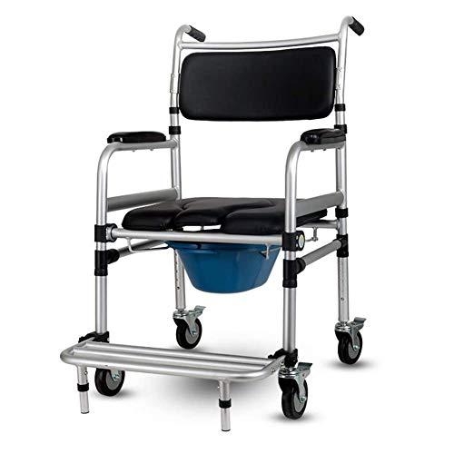Nachtstuhl mit Rollen, gepolsterter Sitz/Rückenlehne, höhenverstellbar 38.5-42.1in, Mobiles WC für ältere Menschen, zusammenklappbar, Toilettenstuhl für Erwachsene