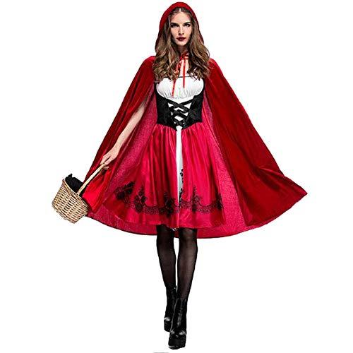 Suncaya Fiesta de Halloween Juego de rol Little Red Riding Hood Costume Adulto Cosplay Party Party Discoteca Queen Bar Evento Rendimiento Disfraz Rojo