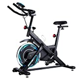 FUNMILY Indoor Exercise Bike Stationary, 49LBS Cycling Bike with Heart Rate Monitor & LCD Monitor, Comfortable Seat Cushion, Heavy Flywheel Upgraded Version (Blue)