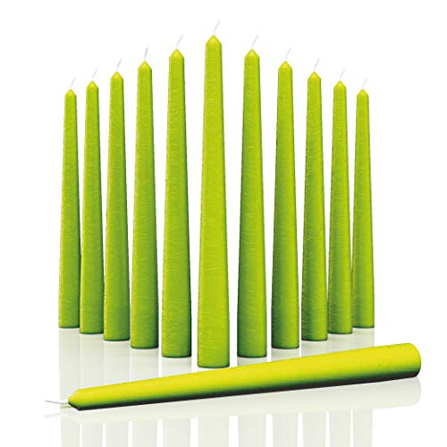 CANDWAX 12 inch Taper Candles Set of 12 - Dripless and Smokeless Candle Unscented - Slow Burning Candle Sticks are Perfect As Thanksgiving Taper Candles - Olive