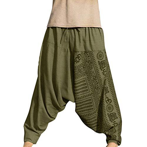 Shujin - Pantalones harem para hombre, para yoga, danza, playa, pantalones para tiempo libre, pantalones de Aladín, pantalones de estilo retro verde M