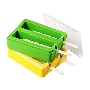 Popsicle Molds, ULuck Silicone Popsicle Molds Popsicle Maker Ice Pop Molds with 2 Lidsand Sticks - Set of 2 - BPA Free - DIY Ice Cream Maker For Kids - Yellow and Green
