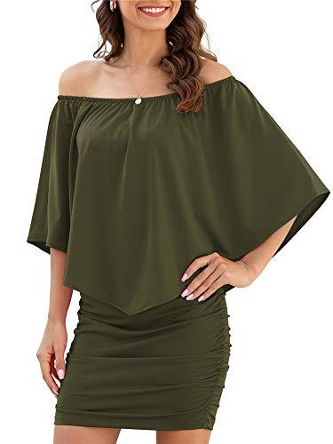 Yincro Women Off The Shoulder Ruffle Bodycon Club Party Mini Dress (Arym Green, X-Large)