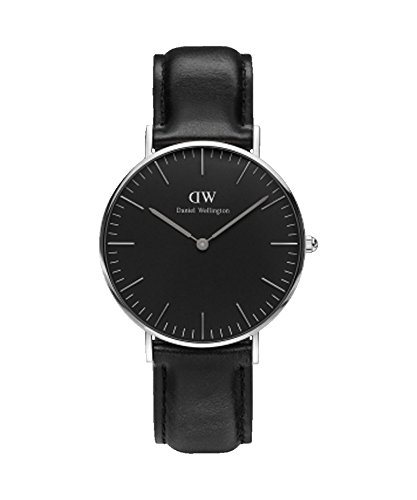 Daniel WellingtonDW00100145Armbanduhr für Damen, 36mm, klassisch, Schwarz, Sheffield-Silber