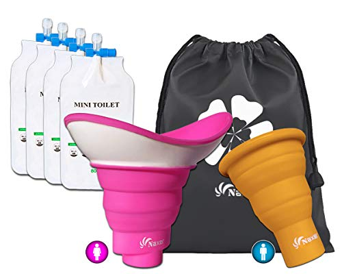 NAXER Urinal for Women and Men Portable Family Set, Collapsible Female Urinal Easy Wee Female Urination Device, Spill-proof Pee Funnel with 4 Disposable Urinal Bags for Camping Hiking Travel Car Kayak
