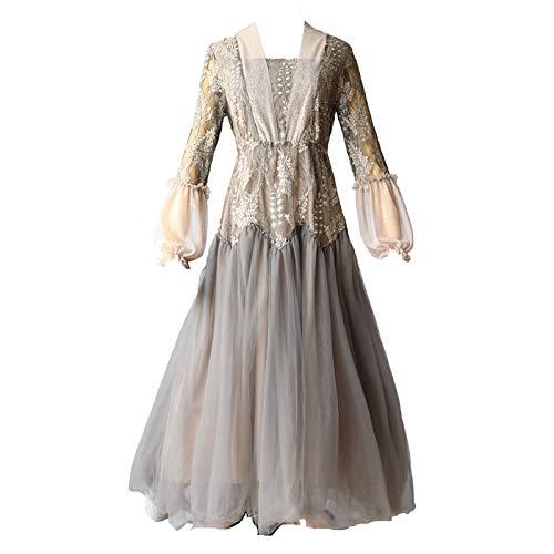 QUNLIANYI ballkleid lang Damen tüll Herbst Vintage Blumenstickerei Spitze Patchwork Mesh Kleid...