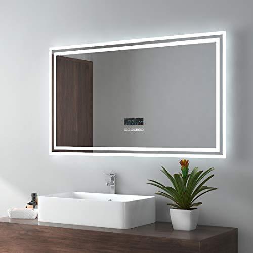 EMKE LED Badspiegel 100x60cm Wandspiegel Beleuchtung Badezimmerspiegel mit Bluetooth 4.1 Lautsprecher, Touchschalter, Beschlagfrei, Uhr