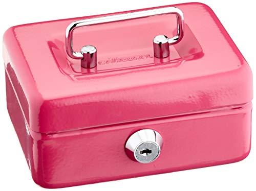 Cathedral - Caja de caudales (metálica, con cerradura, 2 llaves, 10 cm), color rosa