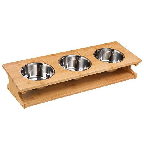 Homfa Futternapf Hundenapf dreifach erhöhte Futterstation Katzenapf Bambus Halter 3 Edelstahlschüssel Napfständer 57x19.5x12cm