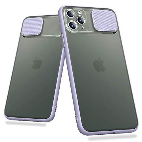 Billion Good Slide Camera Lens Protection Shockproof Phone Case for iPhone 11 Pro X XR Xs Max 6 7 8 Plus Case Color Matte Transparent Cover (Purple, iPhone11ProMax6.5'')
