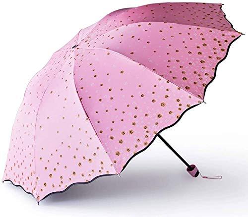 MGEE Sombrilla, Soleado Y Lluvia Doble Uso Plegable Doble Sombrilla Protección Solar Paraguas UV Mujer(Color:A)