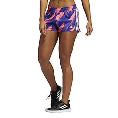 adidas womens Pacer 3-Stripes Here To Create Shorts Signal Pink/White Small