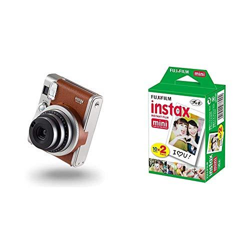 instax 70100128701 Mini 90 NEO Classic Camera with 10 Shots, Brown & FujiFilm Instax Mini Film (40Shots) Multi Pack