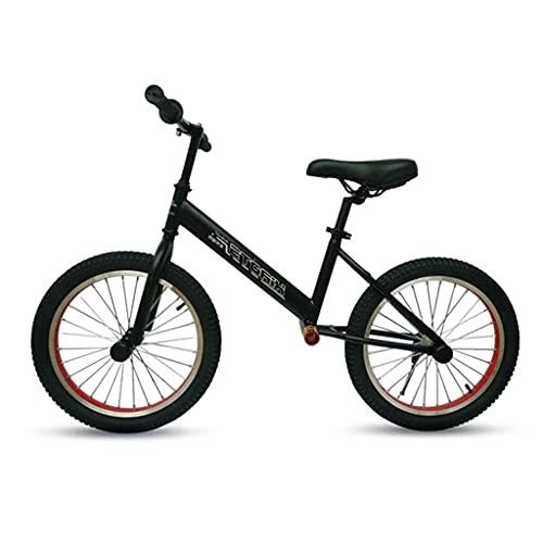 Bicicleta Bicicleta de Equilibrio Grande de 18 Pulgadas con neumáticos de Aire, Bicicleta de Entrenamiento Negra portátil sin Pedales, Asiento y reposapiés Ajustables, para niños Grandes/Adultos