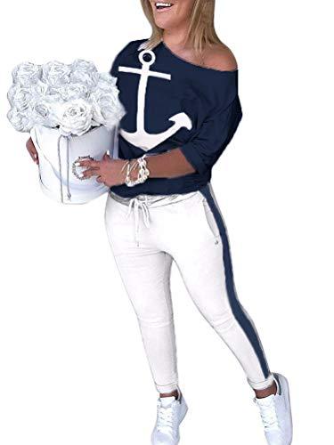 ORANDESIGNE Damen Mode 2 Stück Set Outfits Langarm Trägerlos T-Shirt +Reizvolle Bodycon Paket Hüfte Hosen Beiläufig Outfit Sport Bekleidung A Blau 34