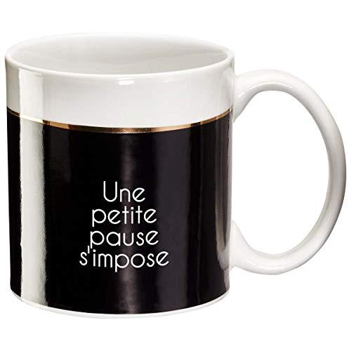 Draeger - Mug Original - Tasse À Thé à offrir en cadeau à vos proches - Tasse À Café en porcelaine fine - 350 ml 8 cm de diamètre x 8,5 cm de hauteur une petite pause s'impose