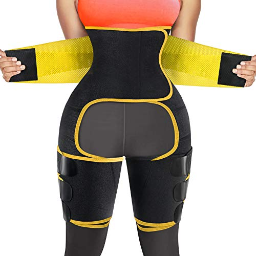 RACELO 3 in 1 Sauna Waist Trainer Butt Lifter Thigh Trimmer Sweat Body Shaper Exercise Wrap Stomach for Women Workout Sports (Yellow, M)