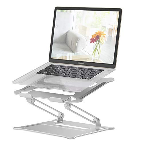 ZHENREN Portable Laptop Stand, Foldable Laptop Holder with Heat-Vent, Ergonomic Aluminum Computer Stand for Desk, Adjustable Laptop Riser for Macbook Pro/Air, Dell, HP, Lenovo, More 11-17' Laptop