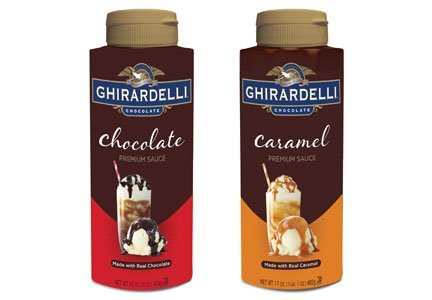 Ghirardelli, Premium Sauce Variety Pack, One Chocolate 16oz & One Caramel 17oz Bottle (Pack of 2 Total Bottles)