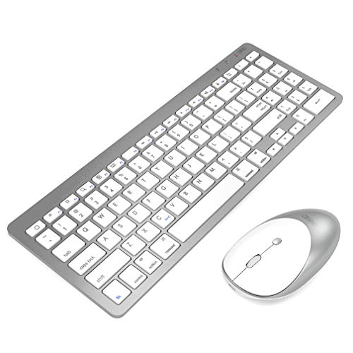 inphic Ultra Slim Bluetooth Wireless Keyboard Mouse Combo, Compatible with iPad 10.2/9.7, iPad Air 10.5, iPad Pro 11/12.9, iPad Mini 5/4, iPhone and Other Bluetooth Enabled Devices(None USB, White