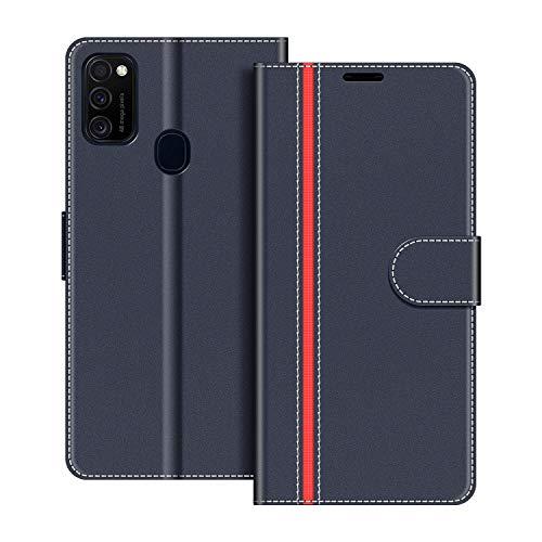 COODIO Handyhülle für Samsung Galaxy M21 Handy Hülle, Samsung Galaxy M21 Hülle Leder Handytasche für Samsung Galaxy M21 Klapphülle Tasche, Dunkel Blau/Rot