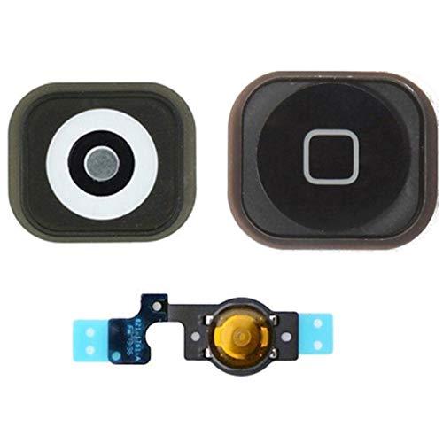 Generico Tasto Home Button Completo Membrana Flex Compatibile per Apple iPhone 5 Bottone Nero Black by Ellenne Store