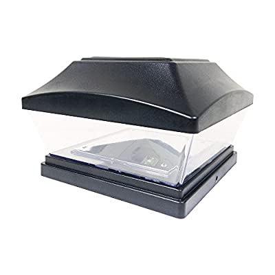 iGlow 1 Pack Copper / White Outdoor Garden 6 x 6 Solar SMD LED Post Deck Cap Square Fence Light Landscape PVC Vinyl Wood