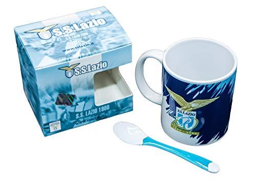 Generico Tasse Mug SS Lazio, offizielles Produkt, mit Box und Löffel aus Kunststoff, Weiß, Hellblau (120 Jahre)