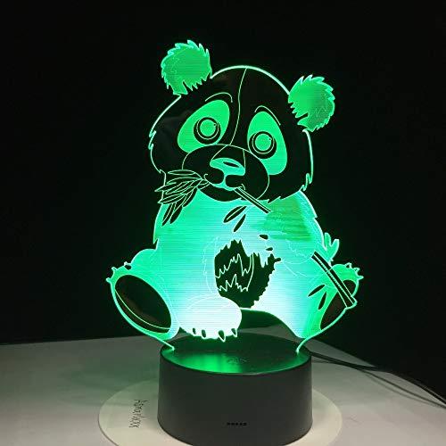 tzxdbh Mooie 3D-nachtlampje led illusie lamp touch schakelaar 7 kleuren spanda eten bamboe full visuele touch control S decchanging USB dier bureaulamp thuis tafel