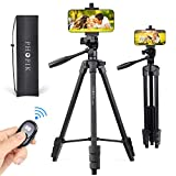 PHOPIK Mobile Phone Tripod 55 inches, Aluminum Travel/Camera/Mobile Phone Tripod with Carrying Bag with a Maximum Load of 6.6 pounds, Remote Shutter, Compatible with Smartphone & Tablet & Camera.