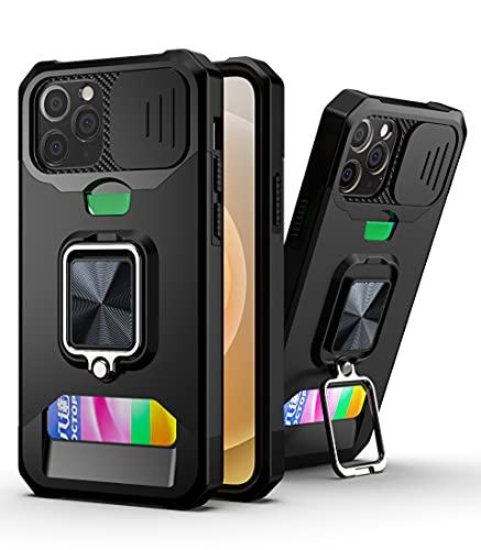 SCRENDY Cover per iPhone 6 Plus/7 Plus/8 Plus, Protezione Fotocamera Anti Graffio Hard PC Cover, TPU+PC Dual Layer Custodia Porta Carte con Cavalletto, Nero