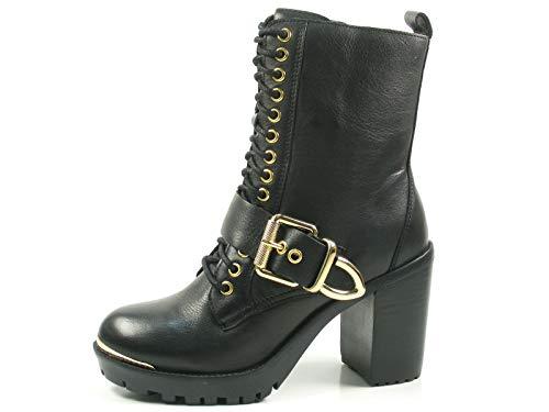Bronx Bkirkx 33945-A-231 Schuhe Damen Ankle Boots Biker Plateau Stiefeletten, Größe:40 EU, Farbe:Schwarz