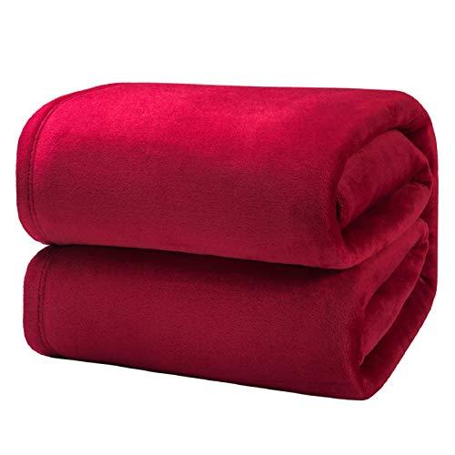 Bedsure Manta para Sofás de Franela 230x270cm - Manta para Cama 180 Reversible de 100% Microfibre Extra Suave - Manta Roja Transpirable