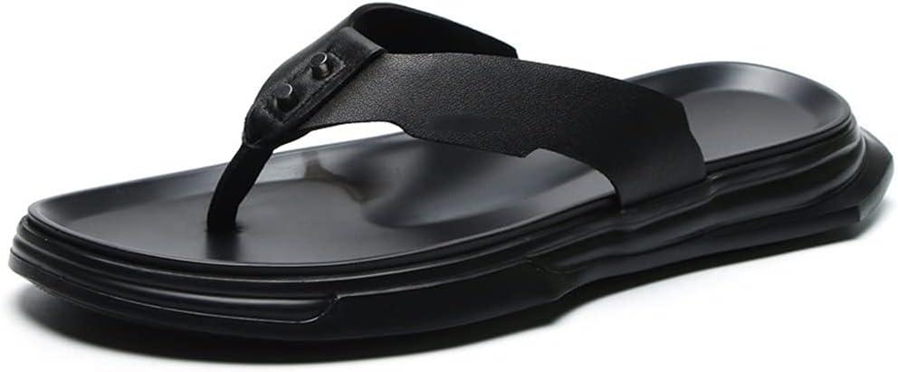 CSTZZ Men's Summer Flip Flop Men's Leather Sandals Adult Beach Shoes Non-Slip Open-Toe Leather Sandals (Color : Black, Size : 39yards)