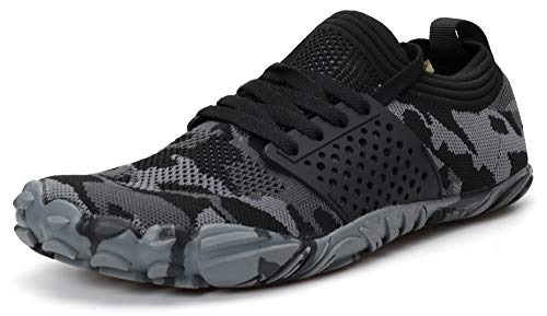 WHITIN Men's Trail Running Shoes Minimalist Barefoot 5 Five Fingers Wide Width Toe Box Gym Workout Fitness Low Zero Drop Slip On Runner Male Camo Camouflage Black Size 9
