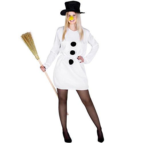 TecTake dressforfun Damenkostüm Schneefrau Weihnachts Kostüm | kurzes sexy Kleid mit aufgenähten Bommeln | inkl. Zylinder und Karottennase (S/M | Nr. 300460)