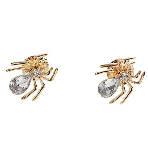 Spinne Brosche Nadel Anstecker für Kragen Collar Anzug Hemd Kragen Pin Gold