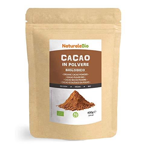Kakao Pulver Bio 400 g. Organic Cacao Powder. 100{7a414eb64c7865ecb2e4219da04be05b074669e66a8a97c27a75ea09bed0df38} Natürlich, Rein aus de Roh Kakaobohnen. Produziert in Peru aus der Theobroma Cocoa Pflanze. Magnesium, Phosphor und Zink-Quelle. NaturaleBio