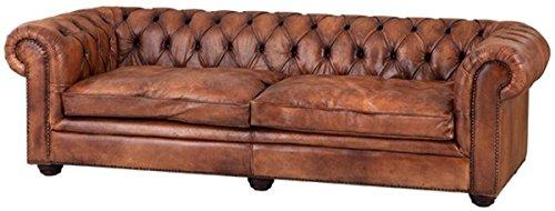 Casa Padrino Büffelleder 2er Sofa Tobacco Braun 240 x 94 x H. 70 cm - Luxus Echtledersofa