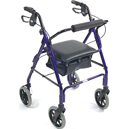 Days Lightweight Aluminum Rollator, Adjustable Rolling Walker with Seat for Elderly, Disabled, & Limited Mobility Patients, Walking Stabilizer with Four Wheels, 364 lb. Weight Capacity