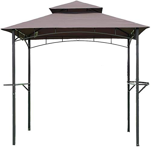 Grill Gazebo 8'x 5'Gazebo Canopy Tent,Barbecue Canopy BBQ,Outdoor Gazebo for Patios with Air Vent Double Tiered,Large Party Tent Backyard Wedding Tent,Garden Commercial Tent for Lawns Deck etc,Brown