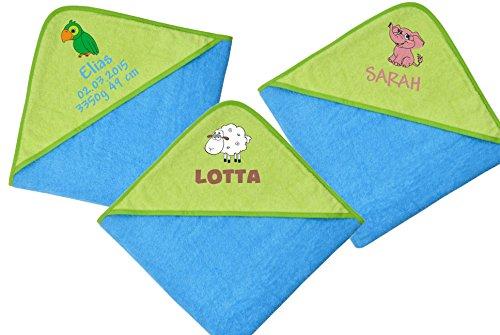 Wolimbo Kapuzenbadetuch 140x140cm mit Namen und Motiv - Farbe: türkis-grün - Das individuelle und kuschelig weiche Badehandtuch für Mädchen und Jungs - Wählen Sie Ihr Wunsch-Motiv