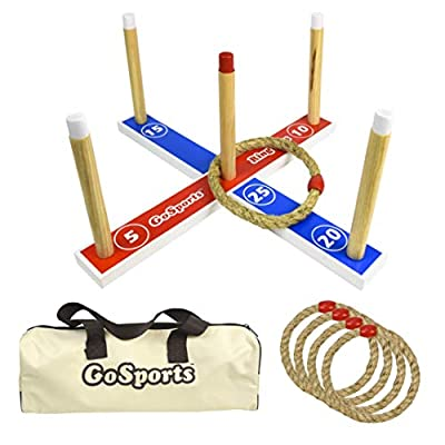 GoSports Premium Wooden Ring Toss Game with Carrying Case, Outdoor Fun for Kids and Adults by P&P Imports LLC