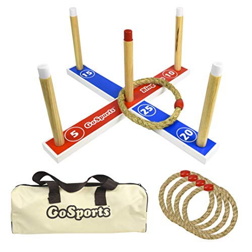 GoSports Premium Wooden Ring Toss Game with Carrying Case