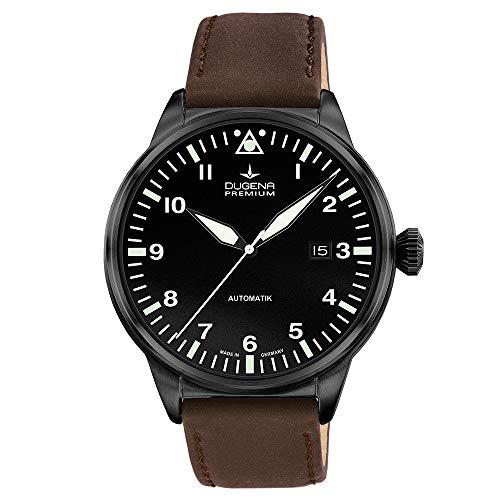 DUGENA Herren-Armbanduhr 7000308 Kappa 7 Airtrip, Automatik, schwarzes Zifferblatt, Edelstahlgehäuse, Saphirglas, Lederband, Dornschließe, 5 bar